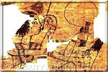 egyptian woman painting her lips papyrus